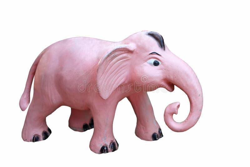 Staty för rosa elefant som isoleras på vit royaltyfria bilder