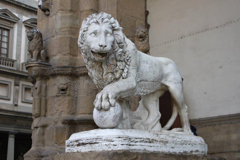 staty för signoria för loggia för dellaflorence lion fotografering för bildbyråer