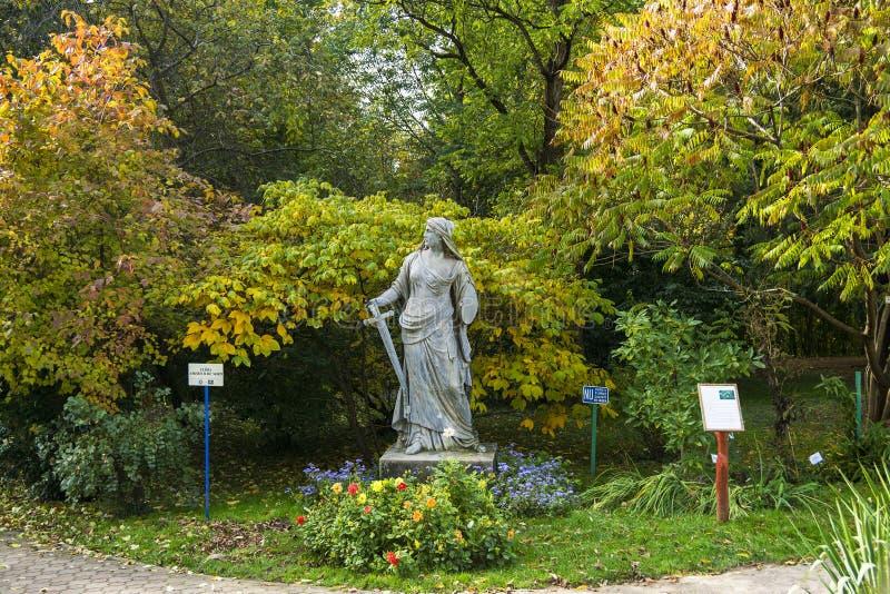 Staty i botaniska trädgården i Cluj Napoca, Rumänien arkivfoto
