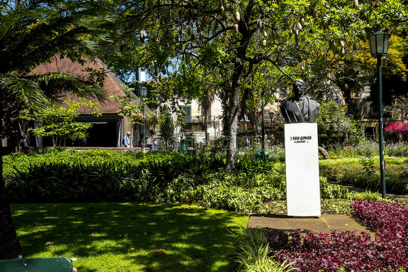 Staty i den härliga kommunala trädgårdFunchal madeiran arkivfoton