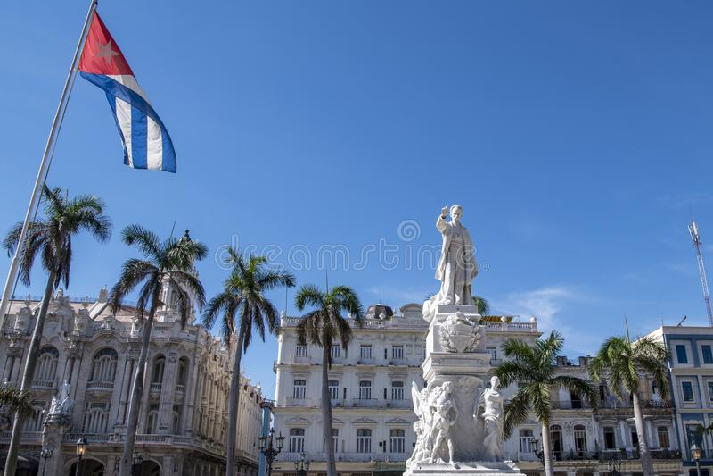 Staty José Marti, Central Park, havannacigarr, Kuba arkivbild
