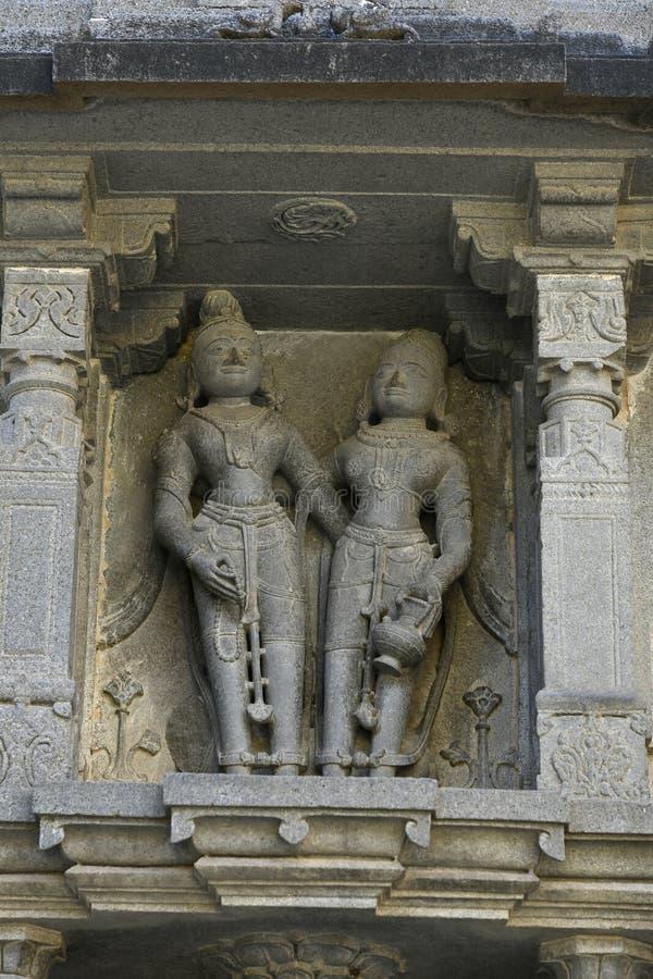 Staty på carvings för stenvägg på den Vitthal templet, Palashi, Parner, Ahmednagar arkivfoto