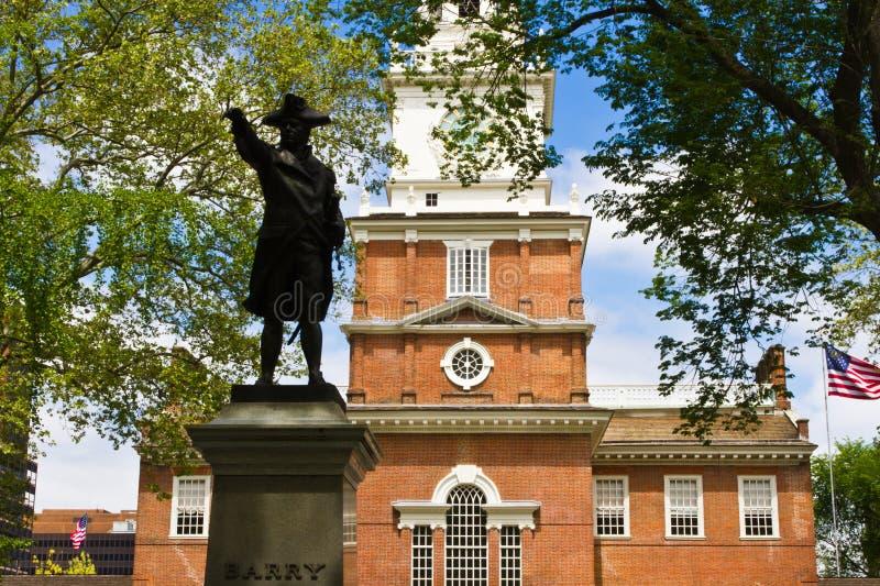 Staty på självständigheten Hall i Philadelphia, PA fotografering för bildbyråer