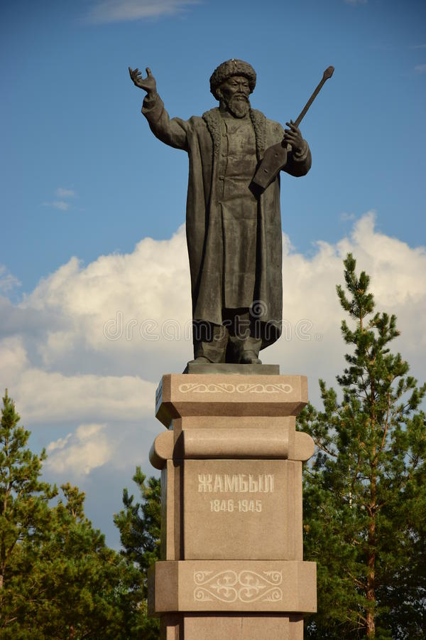 Staty som presenterar Kazakhpoeten ZHAMBYL i Astana arkivfoton