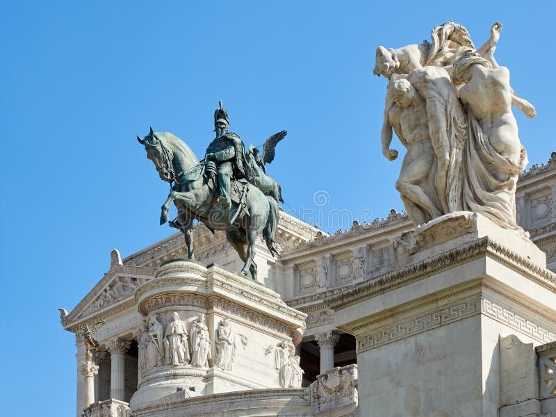 Staty Vittorio Emanuele II Altare Patria Rome Italien arkivfoton