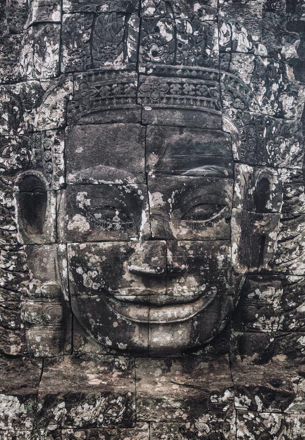 StatyBayon tempel Angkor Thom, Cambodja Forntida en khmerarchite arkivbild