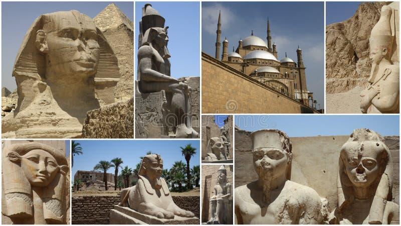 STATYCOLLAGE I EGYPTEN royaltyfria foton