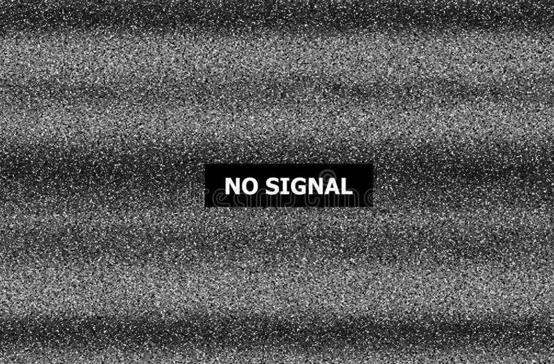 Statyczny tv hałas, zły tv sygnał, czarny i biały, ilustracja wektor