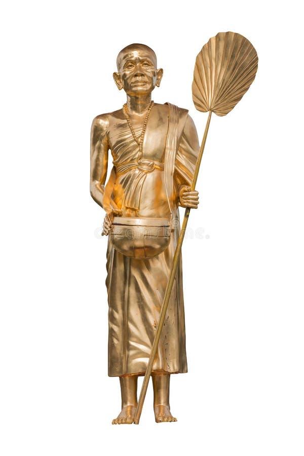 Statyer av buddistiska munkar på vit bakgrund fotografering för bildbyråer