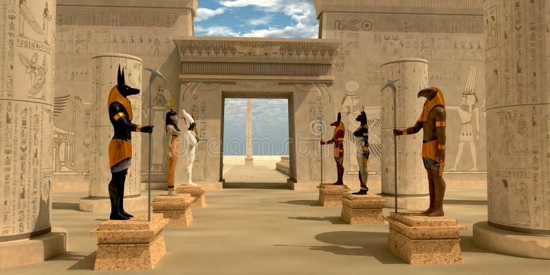 Statyer i pharaohs tempel stock illustrationer