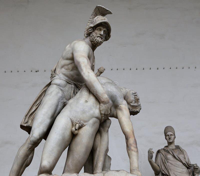 Statyer i piazzadellasignoriaen, Florence, Italien royaltyfri fotografi