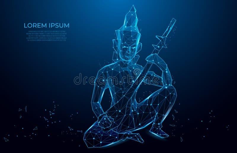 Statyettmunk som spelar instrumentet abstrakt modell med munken med stränginstrumenten på blå bakgrund vektor illustrationer