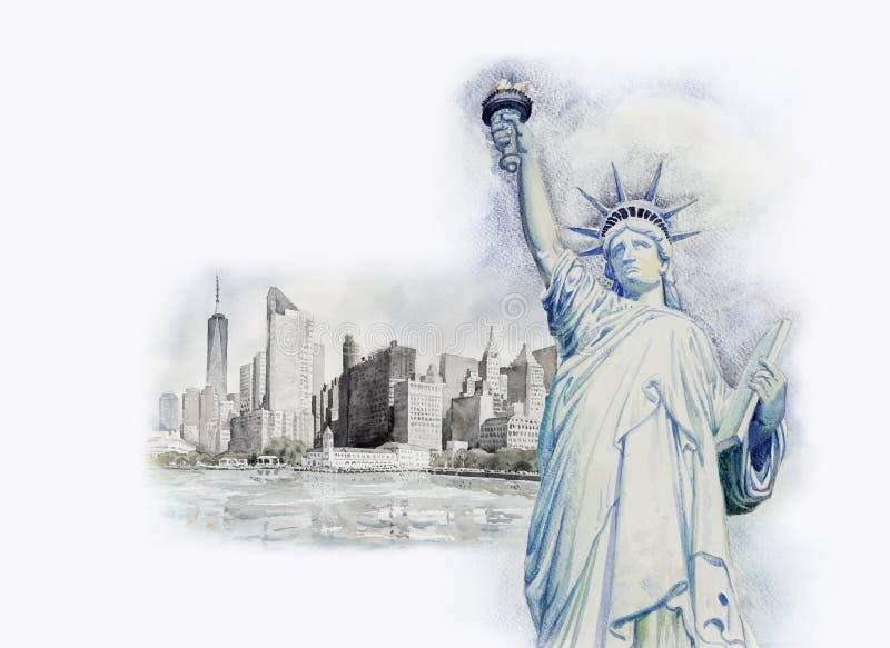 Statyfrihet i stads- Manhattan för Adobekorrigeringar hög för målning för photoshop för kvalitet för bildläsning vattenfärg mycke royaltyfri illustrationer