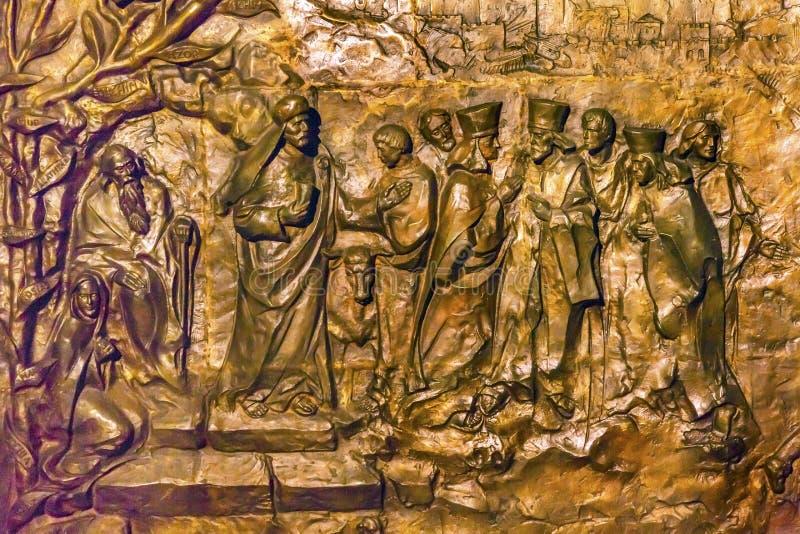 Statyhelgon Catherine Nativity Church Bethlehem Palestine för tre konungar royaltyfria bilder
