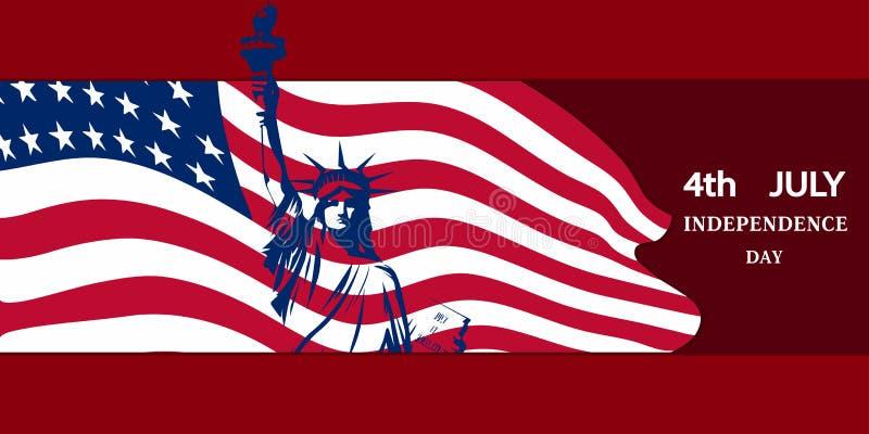 Statyn av frihet mot bakgrunden av nationsflaggan av USA symboliserar en självständighetsdagen på Juli 4 vektor illustrationer