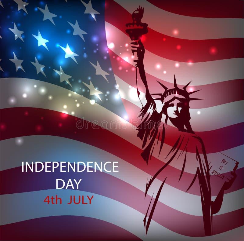 Statyn av frihet mot bakgrunden av nationsflaggan av USA en ljus abstrakt bakgrund med fyrverkerier royaltyfri illustrationer