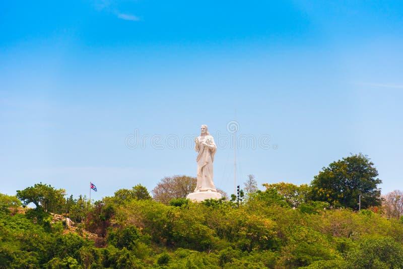 Statyn av Jesus Christ i havannacigarren, Kuba Kopiera utrymme för text royaltyfria foton