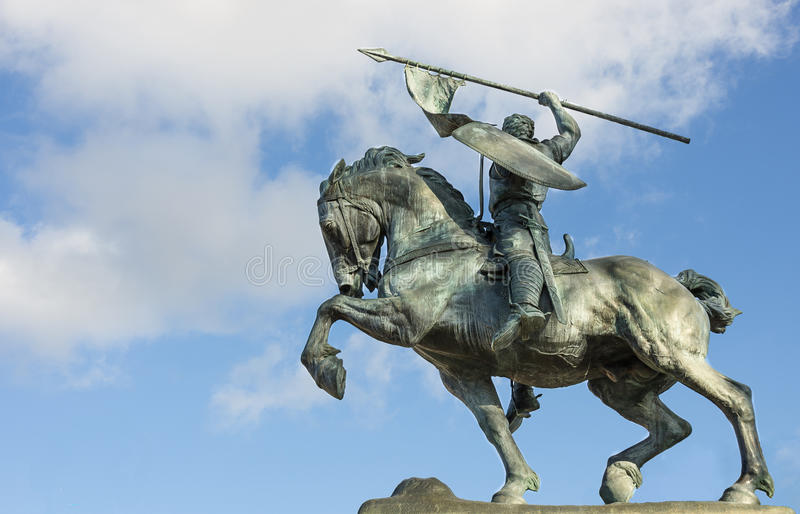 Statyn av Rodrigo Diaz de Bivar i Balboa parkerar, San Diego arkivbilder