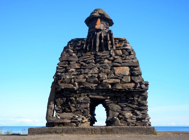 Statyn av Snæfellsà för BÃ-¡ rður ¡ s, den halva mannen och halvan fiska med drag i royaltyfri fotografi