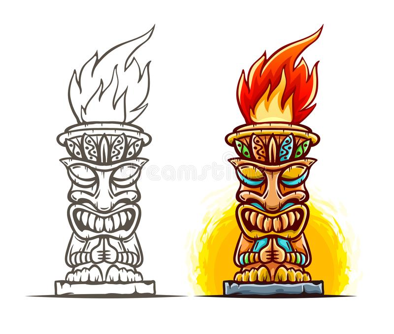 Statyn för den Tiki totemtecknade filmen, isolerade vektor illustration stock illustrationer