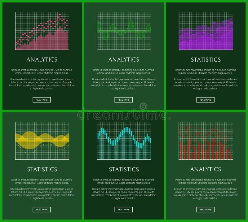 Statystyk fabuły i analityka wykresów wektoru karty ilustracji