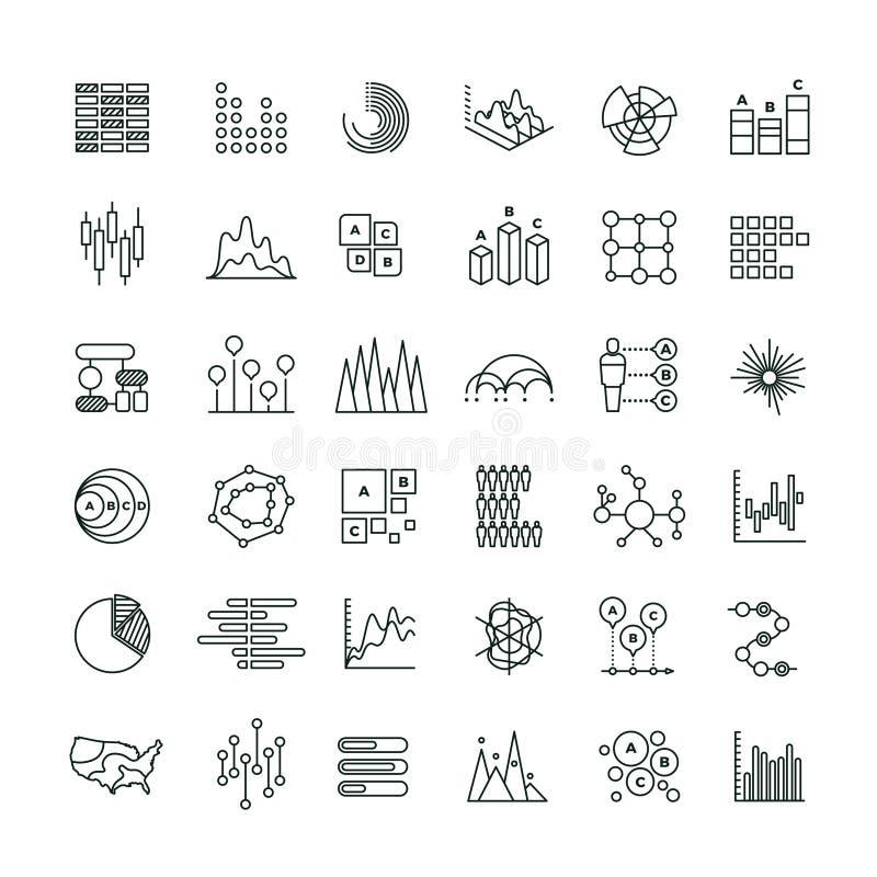 Statystyk mapy i zarysowywają wektorowe ikony Pieniężnych diagramów kreskowi piktogramy ilustracja wektor