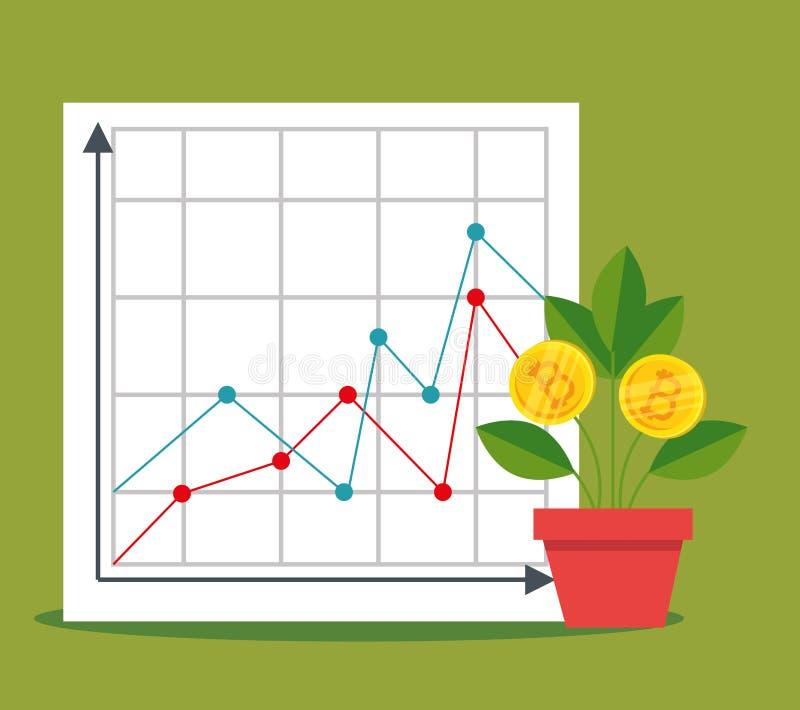 Statystyki diagram i roślina z bitcoin walutą royalty ilustracja