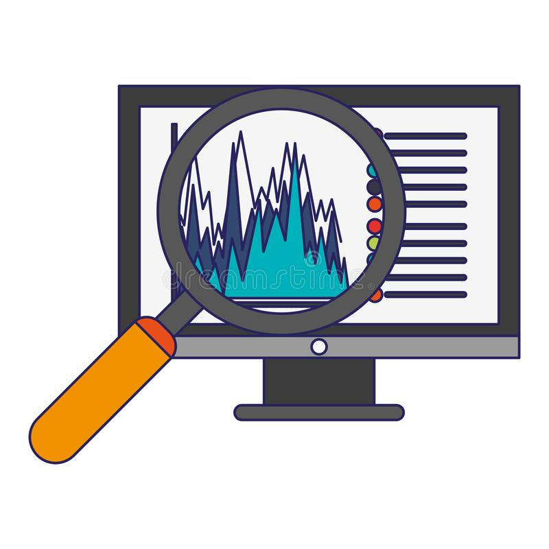 Statystyki na ekranie komputerowym z powiększać - szklane niebieskie linie ilustracji