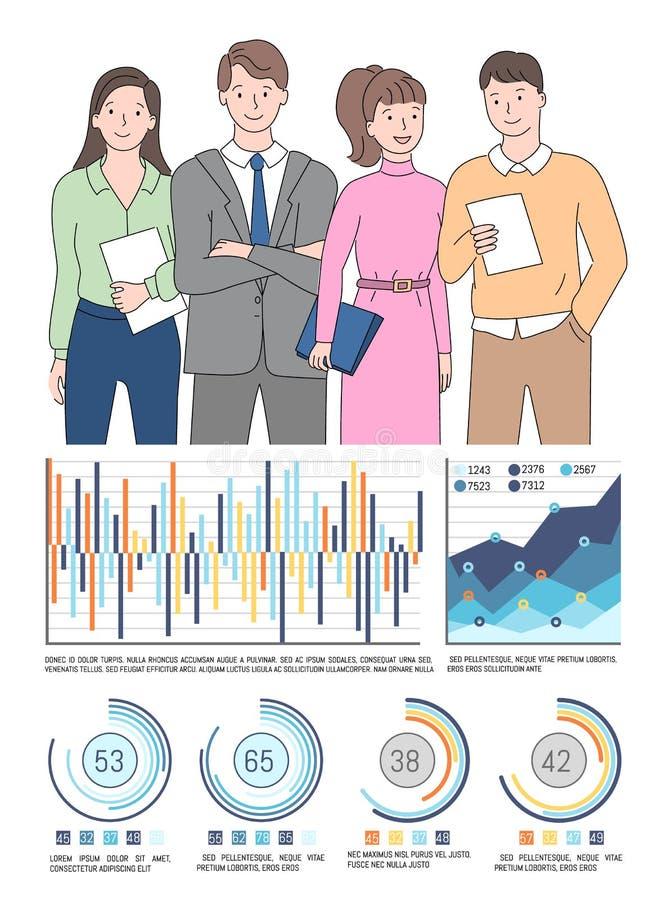 Statystyki raport mapa i wykres, Liczy wektor ilustracja wektor