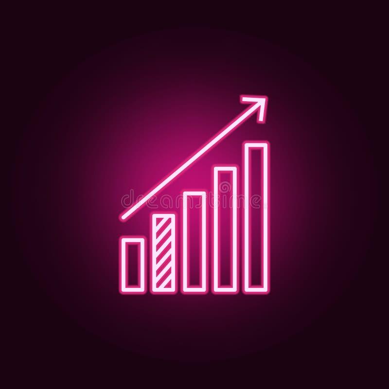 statystyki w górę strzałkowatej neonowej ikony Elementy online i sie? set Prosta ikona dla stron internetowych, sie? projekt, mob ilustracji