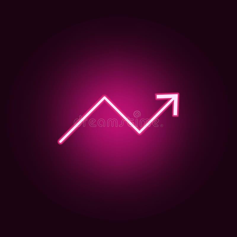 statystyki w g?r? strza?kowatej neonowej ikony Elementy online i sie? set Prosta ikona dla stron internetowych, sie? projekt, mob ilustracja wektor