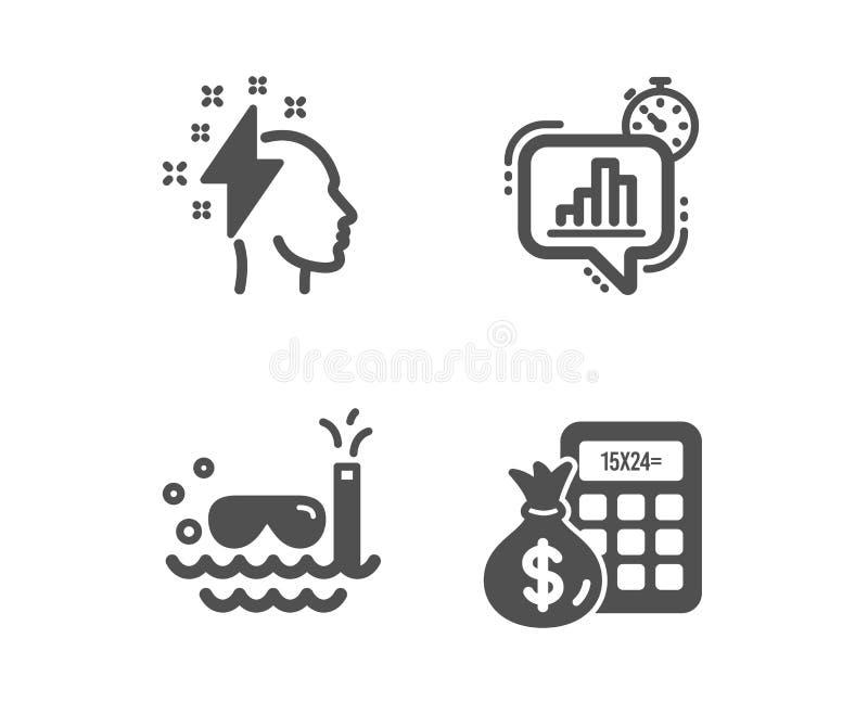 Statystyki zegar, akwalungu pikowanie i Brainstorming ikony, Finansowy kalkulatora znak wektor ilustracja wektor