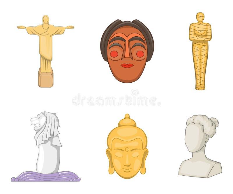 Statysymbolsuppsättning, tecknad filmstil royaltyfri illustrationer