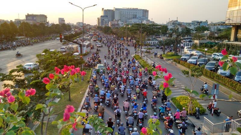 Stau auf normalem Wochentag in Ho Chi Minh Stadt stockbilder