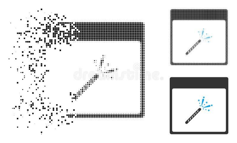 Staub-Dot Halftone Sparkler Firecracker Calendar-Seiten-Ikone stock abbildung