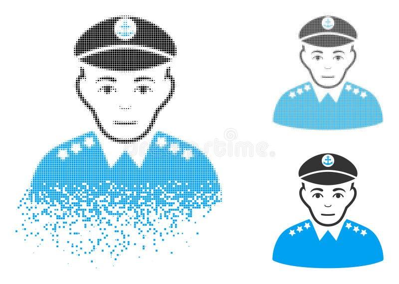 Staub Pixelated Halbtonmilitärkapitän Icon mit Gesicht stock abbildung