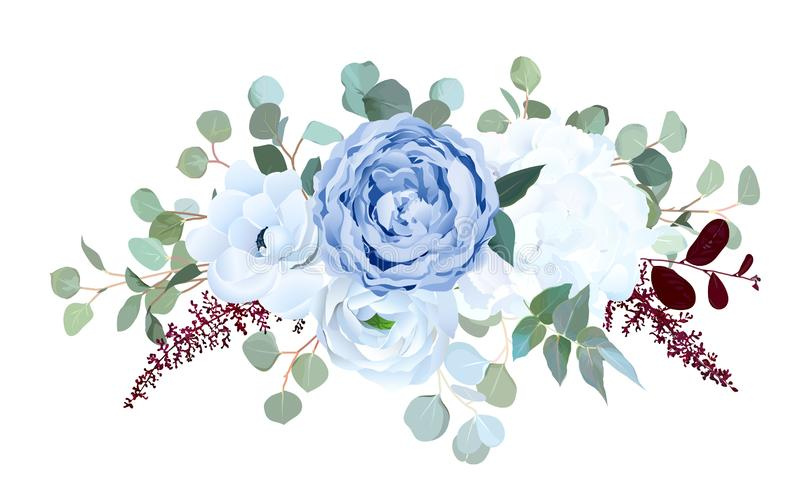 Staubige blaue Rose, weiße Hortensie, Ranunculus, Anemone, eucalyptu stock abbildung