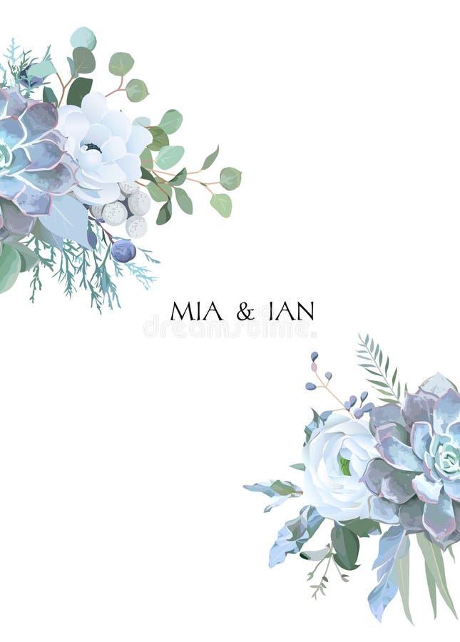 Staubige blaue und weiße Blumen, Ranunculus, Anemone, Eukalyptus, J lizenzfreie abbildung