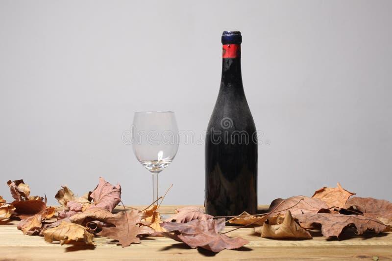 Staubige Flasche des roten reifen Weins, des leeren Glases und des Todes lässt Rest auf einem Holztisch mit Kopienraum für Ihre stockfotos