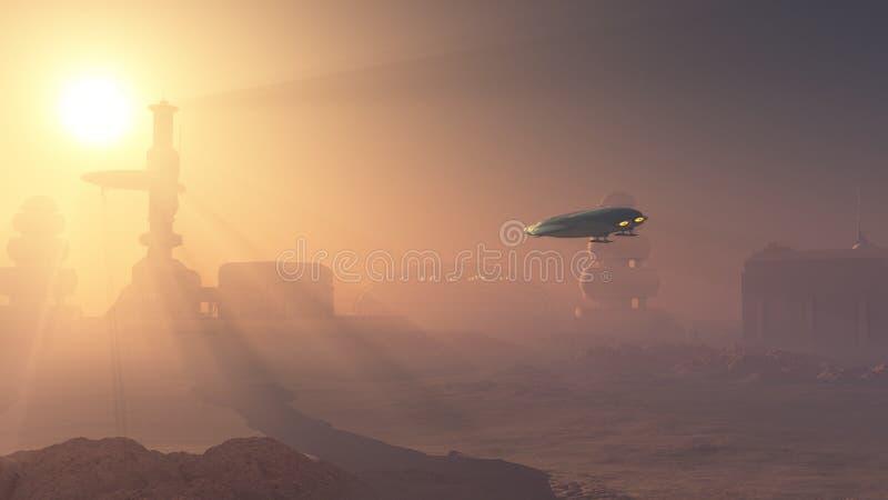 Staubige Landung auf Mars-Vorposten vektor abbildung