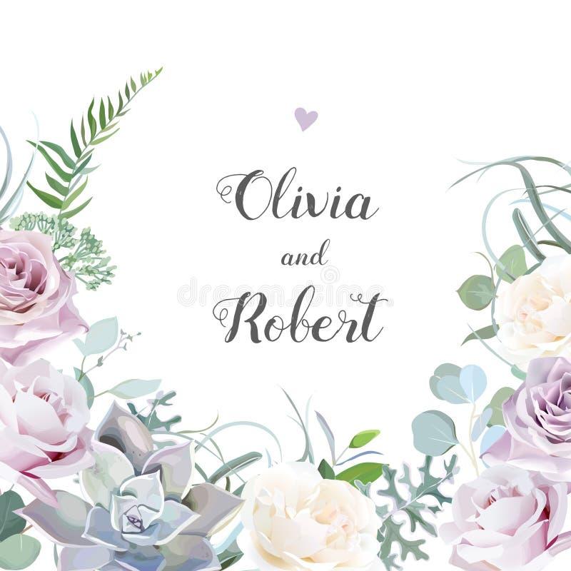 Staubige violette Lavendel-, sahnige und Malvenfarbeneantike Rose, purpurrote blasse Blumen vektor abbildung