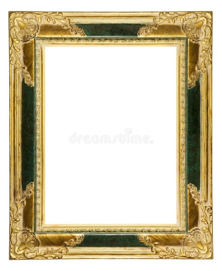 Staubiger aufwändiger altes Goldbilderrahmen lizenzfreie stockfotografie