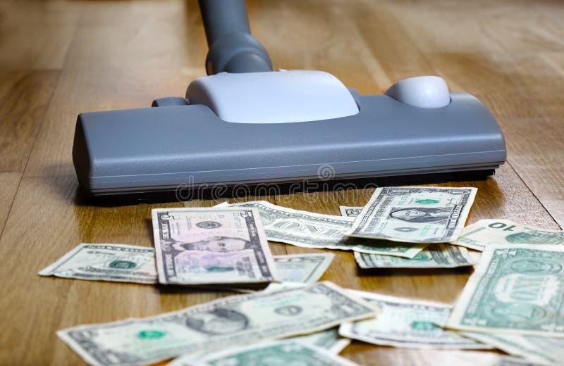 Staubsaugendes polnisches Geld des Geldes lizenzfreies stockfoto