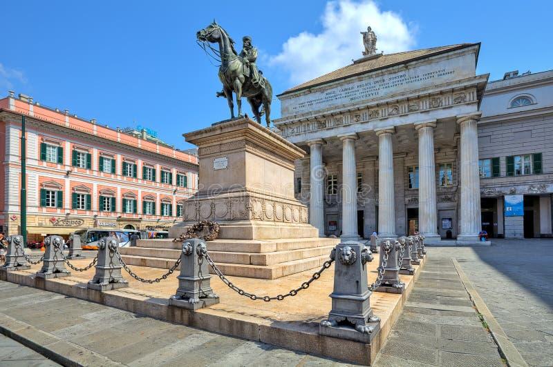 Staue di Giuseppe Garibaldi a Genova, Italia. immagine stock