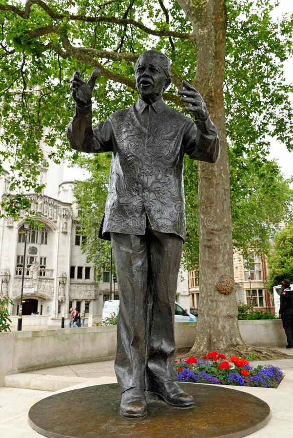 Staue of historic South African leader Nelson Mandela. In Parliament Square, London royalty free stock photo