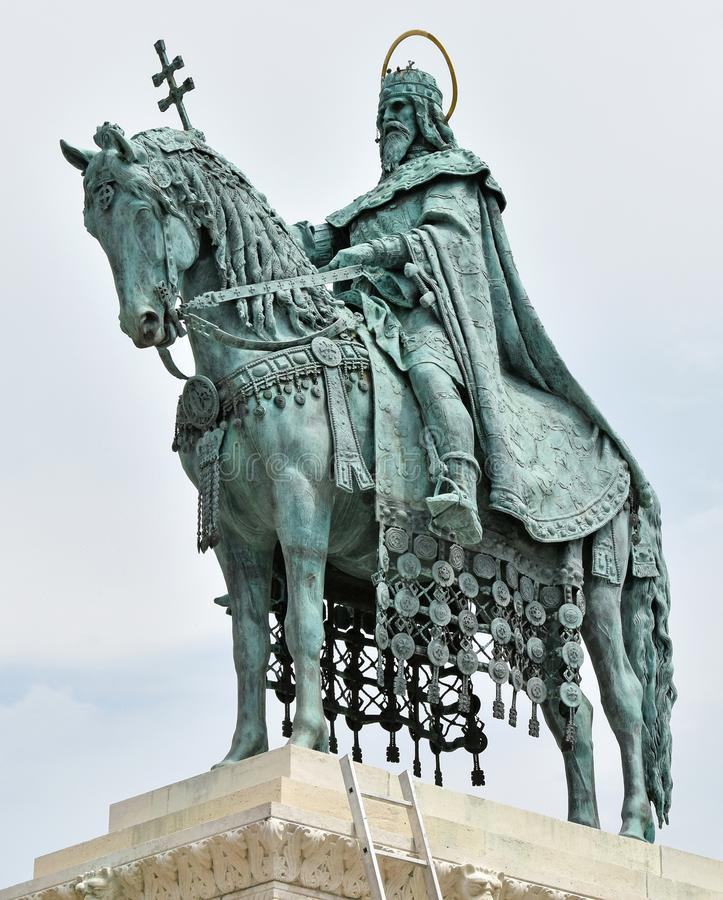 Staute of King Saint Stephen, Budapest, Hungary stock image