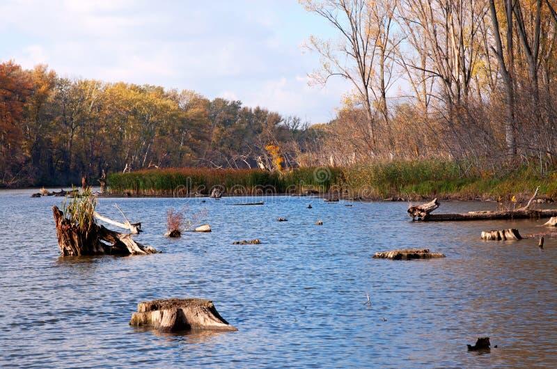 Stauwasser in dem Tisza-Fluss, Ungarn lizenzfreie stockbilder