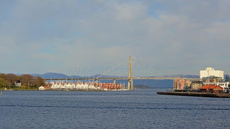 Stavanger bridge and harbor royalty free stock photography