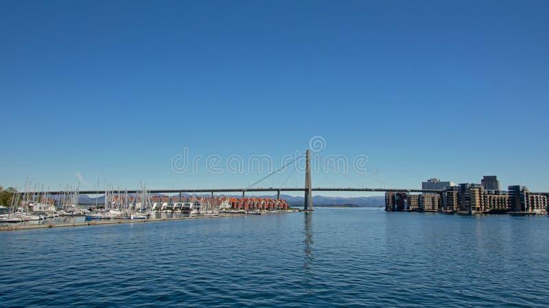 Stavanger bridge and marina stock image