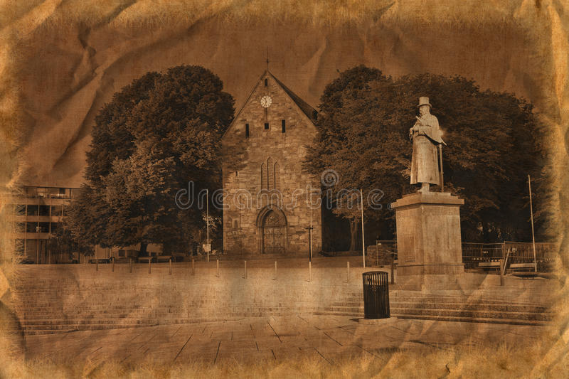 Stavanger Cathedral In Retro Style Stock Photo